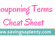 couponing terms - coupon cheat sheet